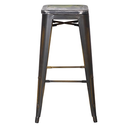 2016 NEW Adeco 30-inch Metal Counter Bar Stools, Vintage Retro Barstool, Distressed copper, Wooden Seat with a blend of Green (SET OF TWO) 2