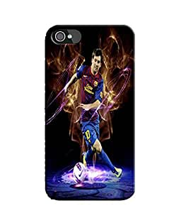 EU4IA Messi Football Player Pattern MATTE FINISH 3D Back Cover Case For iPhone 4s - D352
