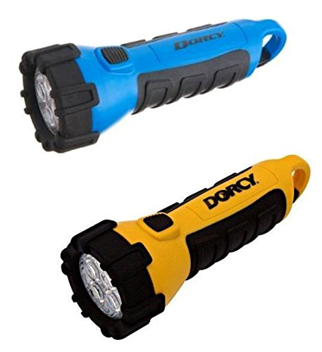 Dorcy 41-2510 Floating Waterproof LED Flashlight with Carabineer Clip, 55-Lumens (Yellow & Blue 2 pack) with 2 neck straps