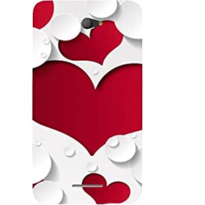 Casotec Multiple Hearts Design Hard Back Case Cover for Sony Xperia E4