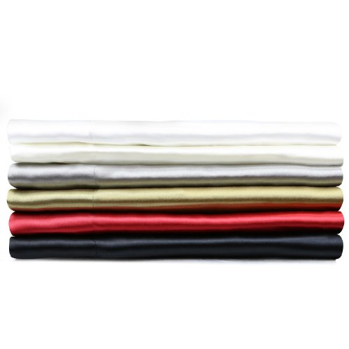 Satin Silky Soft Deep Pocket Bed Sheet Set - Cal King - Chrome
