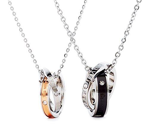 ペアネックレス (sold as a set) 2-ring The only eternal love engraved and care for with cross jewelry BOX with