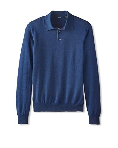 Thirty Five Kent Men's Solid Long  Sleeve Polo