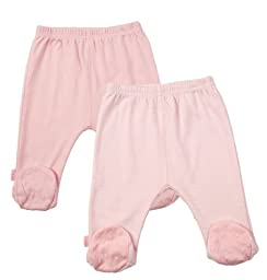 Kushies Everyday Layette 2 Pack Footed Pant, Pink Solid / Stripe, Preemie