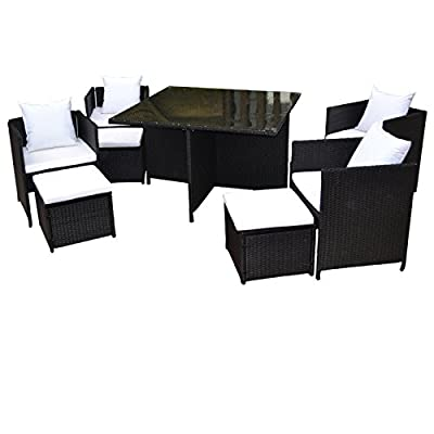 Rattan Garden Furniture Cube Dining Set - Ideal Outdoor, Conservatory or Patio Furniture