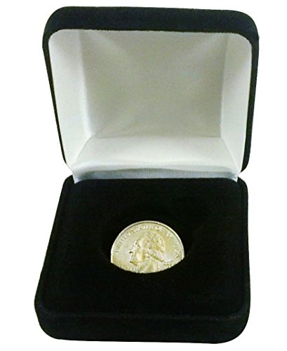 Coin-DisplayGift-Box-Black-Velvet-Holds-Quarter-Dubloon-Medal-Token
