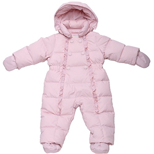 Oceankids Baby Girl's Pink One-Piece Detachable Hood Duck Down Snowsuit 12M 9-12 Months