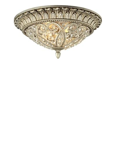 Artistic Lighting Andalusia Collection 2-Light Flush Mount, Aged Silver