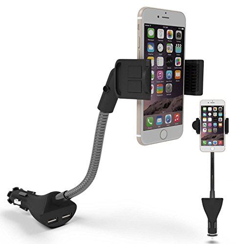 Car Phone Holder, Te-Rich Car Mount Dual USB Charger Cigarette Lighter Holder and 360 Degree Rotation (3.1A, Flexible Gooseneck, Adjustable Non-slip Cradle) for iPhone Samsung Android Smartphones (47 Car Battery compare prices)