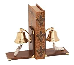 Deco 79 Wooden Brass Bell Bookends