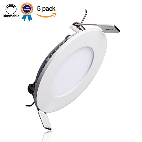 B-right Pack of 5 Units 12W 6-inch Dimmable Ultra-thin Round LED Panel Light, 850lm, 80W Incandescent Equivalent, 3000K Warm White, LED Recessed Ceiling Lights for Home, Office, Commercial Lighting (Led Light Panel Ceiling compare prices)