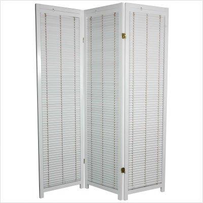Wooden Shutter Room Divider in White Number of Panels: 6