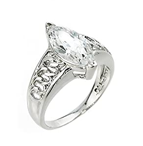 Ladies' 925 Sterling Silver Marquise-Cut CZ Solitaire Engagement Ring (Size 5.5)