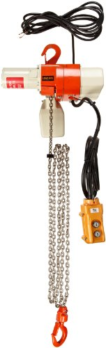 "Harrington Ed Dual Speed Electric Chain Hoist, Single Phase, Hook Mount, 1050 Lbs Capacity, 10' Lift, 22 Fpm Max Lift Speed, 0.8 Hp, 20.5"" Headroom, 0.9"" Hook Opening, 120V"