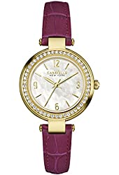 Caravelle 44L176 Women's New York White MOP Dial Purple Leather Strap Crystal Watch