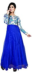 Bhoomi Creation blue colored semi-stitched soft net gown (1170)