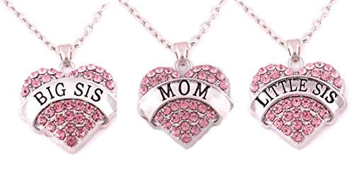 Charm.L Grace Matching Necklaces Set Pink Crystal Heart Mom Big Sis Lil Sister (Lil Sis Big Sis Mom Necklace compare prices)