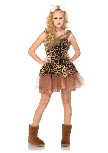 Leg Avenue  Cave Girl Cutie Fur Trimmed Asymmetrical Dress Bone Headpiece