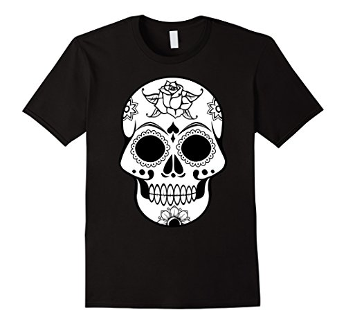 [Men's Blank Sugar Skull Costume Halloween Hispanic T-Shirt Large Black] (Hispanic Halloween Costumes)