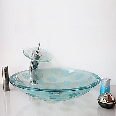 QUEEN'S HOME Frosting Carved Transparent Round Tempered Glass Vessel Sink with Waterfall Faucet Pop - Up Drain and Mounting Ring