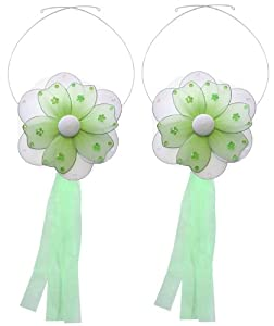 Flower Tiebacks Green Multi-Layered Nylon Daisy Flowers Tieback Pair / Set Decorations ? Window Curtains Holder Holders Tie Backs tDecorate for a Baby Nursery Bedroom, Girls Room Wall Decor, Wedding Birthday Party, Bridal Baby Shower, Bathroom, Curtain, Daisies Decoration