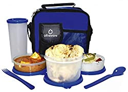 Oliveware Plastic Olympic Lunch Bag Including Tumbler , 1 Big & 2 Small, Set Of 4 Pieces, Blue