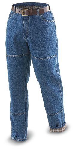 30″ Inseam Guide Gear Flannel – lined Utility Jeans Stonewash