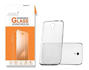 Coolpad Mega 2.5D Tempered Glass, Real HD+Tempered Glass Combo Coolpad Mega Sof Silicone Transparent Back Cover Case for Coolpad Mega Tempered Glass
