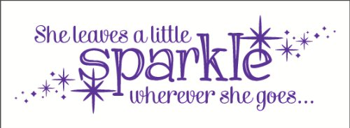 Wall Decor Plus More Wdpm2724 She Leaves A Little Sparkle Wherever She Goes Wall Sticker, 36-Inch X 11-Inch, Purple front-86229