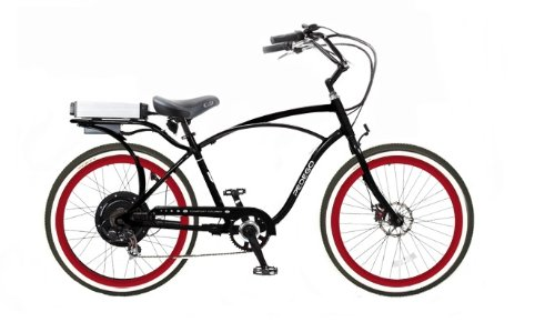 Pedego Classic Cruiser Black with Red Rims