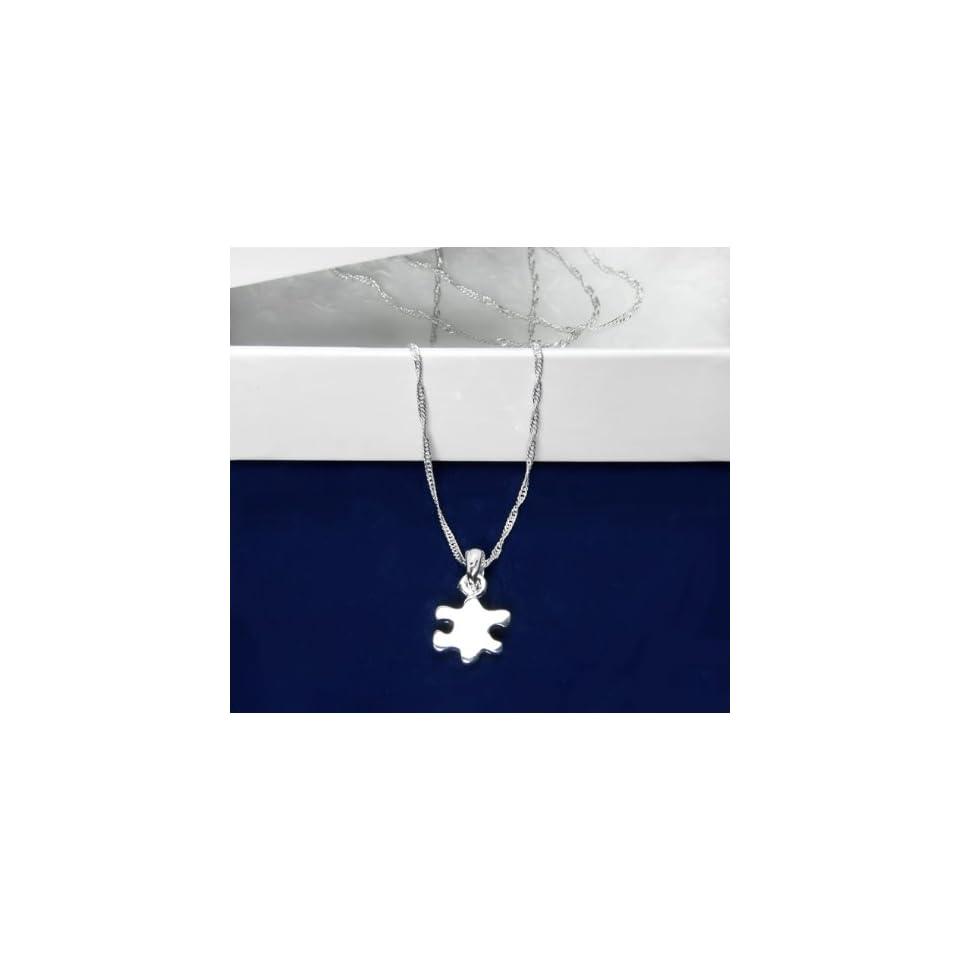 Autism Silver Puzzle Piece Necklace (18 Necklaces)