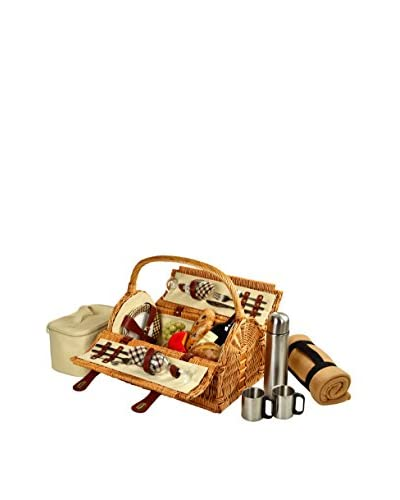 Picnic at Ascot Sussex Basket For 2 with Blanket & Coffee, Olive Tweed
