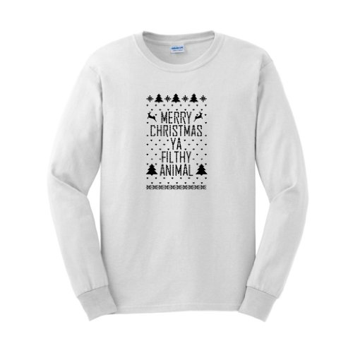 Merry Christmas Ya Filthy Animal Ugly Sweater Contest Winner Long Sleeve T-Shirt Ugly Fake Immitation Knit Home Alone Funny Reindeer Santa Snowflake Long Sleeve T-Shirt