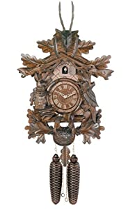 River City Clocks Eight Day Hunter's Cuckoo Clock with Hand-carved Oak Leaves, Animals, Rifles, and Buck - 20 Inches Tall - Model # 819-20 by River City Cuckoo Clock