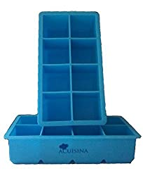 Extra-Large Silicone Tray, 2 Slow Melting Ice Cubes By Acuisina - 2 Pack, for Portion Control, Broth Cubes, Wine, Pesto, Baby Food, Ice Pop, Frozen Yogurt, Soap, Chocolate or Cake Mold. Bonus Recipes
