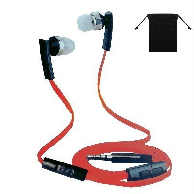 3.5Mm Stereo Handsfree Headset Earbuds Earphones Headphones W/ Microphone For Amazon Kindle Fire Hdx 8.9 ( Red/ Black ) And W/ Volume Control + Carry Bag + Stars Strips Wristband