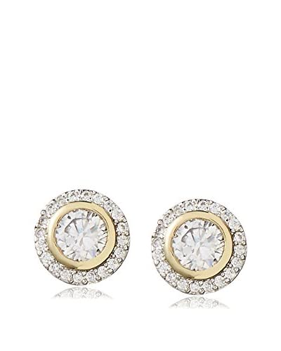 CZ By Kenneth Jay Lane 5 Cttw Round Bezel Set Stud 2Tone Plate Post Ear As You See