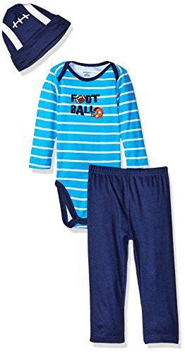 Gerber Baby Boys' 3 Piece Bodysuit, Cap, and Pant Set, Football, 6-9 Months