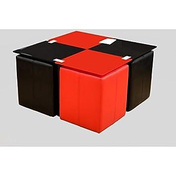Table basse neva 4 poufs rouge et noir cuisine - Table basse noir et rouge ...