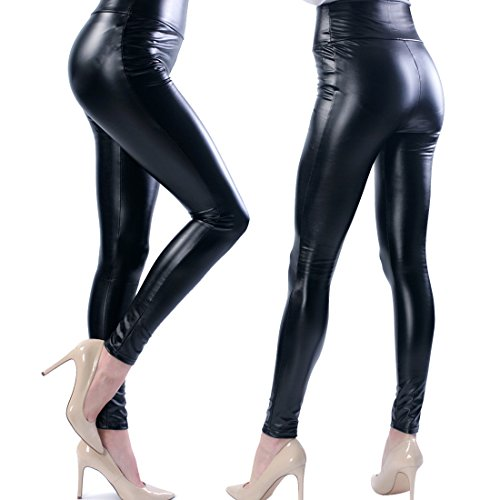 TS Hot Women's High Faux Leather Stretch Tights Leggings (Young Womens Clothing compare prices)