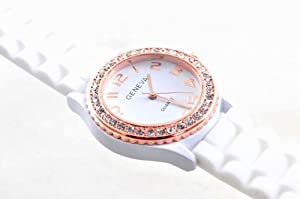 Silicone Gel Ceramic Style Jelly Band Crystal Bezel Womens Watch White/Rose Gold from Geneva