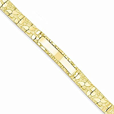14K Gold 10.0mm Nugget ID Bracelet 7 Inches