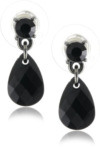 1928 Jewelry Jet Black Multi-faceted Stud Drop Earrings