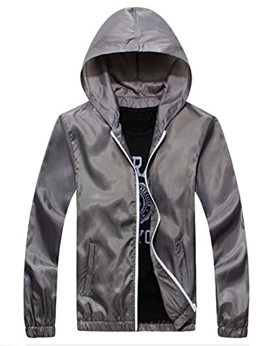 Coofandy Fashion Lightweight Jacket Waterproof Outwear,Gray,X-Large