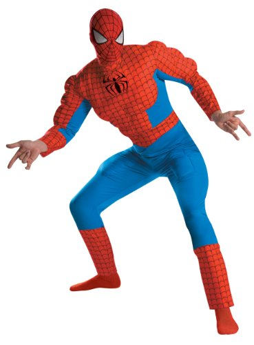 Disguise Men's Marvel Spider-Man Deluxe Muscle Costume, Blue/Red, X-Large