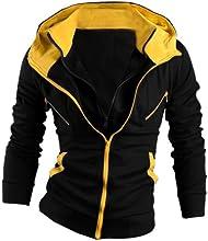 Allegra K Men Zip Hoodies Kangaroo Pocket Sweatshirt Layered Jackets