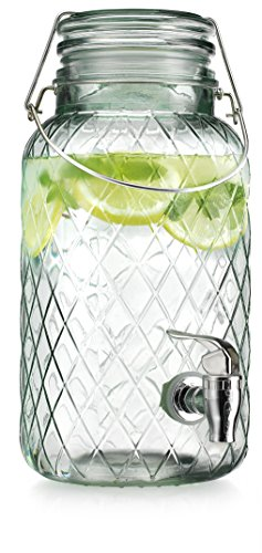 American Recreations Beverage Dispenser Diamond Glass Recycled Green One (1) Gallon with Locking Clamp Hermetic Seal Bail & Trigger with Easy Flow Spigot (Recycled Glass Jars compare prices)