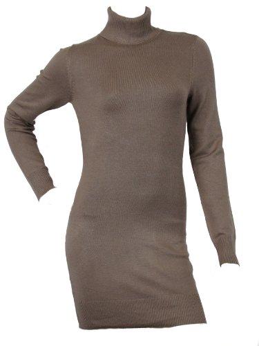 Pullover da donna, collo lungo, in maglia, Maglione con collo a Polo, modello Love Lola a maglia Fine Visone  Large
