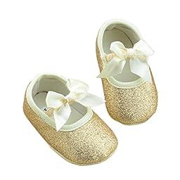 Infant Baby Shoes Mosunx(TM) Anti-slip Soft Sole Toddler Prewalker Shoes (11, Gold)