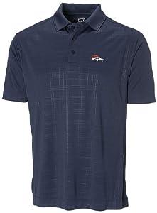 NFL Denver Broncos Mens CB DryTec Sullivan Embossed Polo, Navy Blue by Cutter & Buck